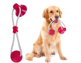 Игрушка для собак канат на присоске с мячиком Розовая фото 2