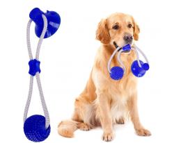 Игрушка для собак канат на присоске с мячиком Синяя фото 6
