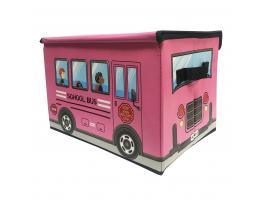 Ящик для хранения игрушек и вещей Автобус Розовый фото