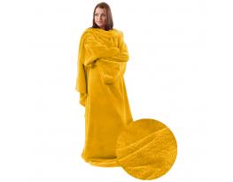 Плед с рукавами двухслойный флис Premium Жёлтый фото