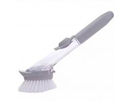 Щетка для мытья посуды с дозатором для моющего фото