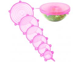 Набор силикон. крышек Super Stretch Silicone Розовый 6 шт. фото 1