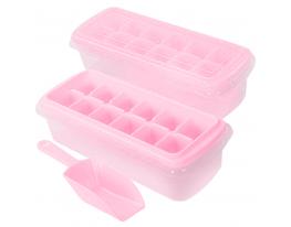 Форма для льда с контейнером и лопаткой 27*10см Розовая фото