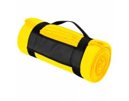 Плед для отдыха и путешествий двухслойный флис Premium Желтый фото 5