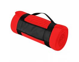 Плед для отдыха и путешествий двухслойный флис Premium Красный фото 5
