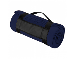 Плед для отдыха и путешествий двухслойный флис Premium Темно синий фото 4