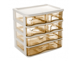 Мини - комод пластиковый прозрачный на 4 секции коричневый фото