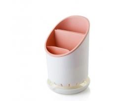Сушилка-органайзер для кухонных принадлежностей Cutlery Drainer and Organiser Белая с розовым фото 5