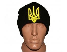 Черная шапка с украинской символикой Герб фото