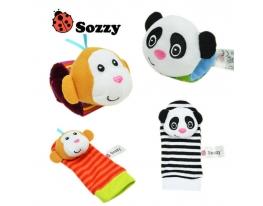 Набор носочки + браслетики с погремушками в виде обезьянки и панды фото