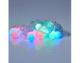 Гирлянда матовые шарики LED 20 белый провод Мультик фото