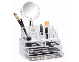 Акриловый органайзер для косметики с зеркалом Cosmetic Storage Box фото
