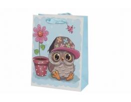 Пакет подарочный Совушка с цветком фото 1