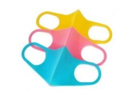 Набор масок трехслойныйх защитных многоразовых для детей Желтая+зеленая+розовая фото