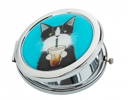 Зеркальце Кот со стаканом фото 2