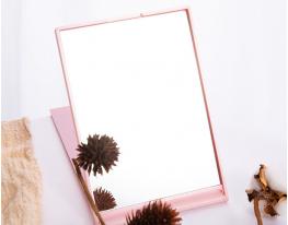 Зеркало настольное для макияжа прямоугольное Розовое фото