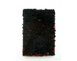 Блокнот антистресс с пайетками-перевертышами черно-красный фото