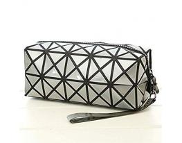 Ультрамодная косметичка - клатч с геометрическим узором Серая фото