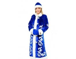 Новогодний костюм Снегурочки взрослый синий фото