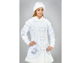 Карнавальный новогодний костюм Снегурочки белый фото