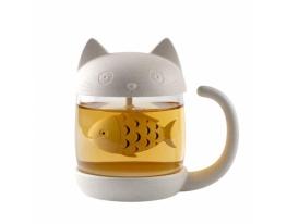 Чашка заварник Кот с Рыбкой фото