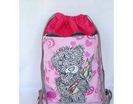 Летняя сумка-рюкзак для сменной обуви Мишка Тедди с карманом на молнии фото