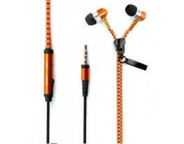 Наушники на молнии Zipper Earphones оранжевые фото 2