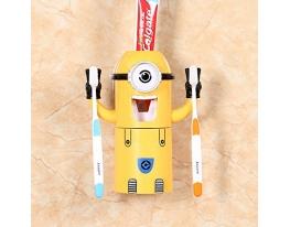 Диспенсер для зубной пасты с держатель зубных щеток Dental Dispenser Миньон Желтый фото