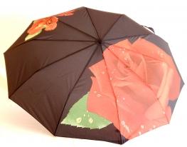 Зонт Антишторм автомат Роза и бабочка чёрный фото