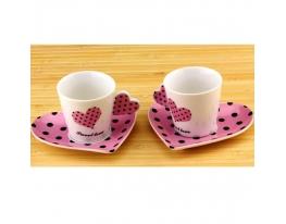 Чашки с блюдцем Сердечко в наборе фото