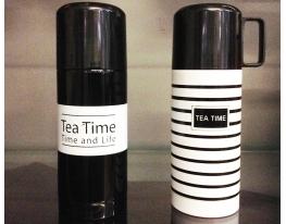 Термос TEA TIME Черный с белой полосой фото