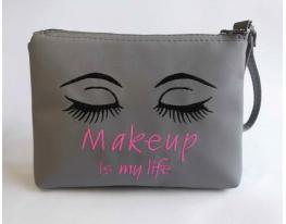 Косметичка с вышивкой Makeup is my life Серая фото