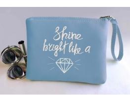 Косметичка с вышивкой Shine bright like a Diamond Голубая фото