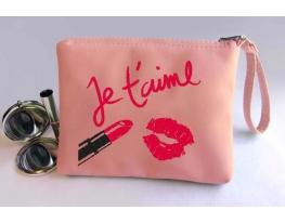 Косметичка с вышивкой Je t'aime Розовая фото 1