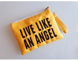 Косметичка с вышивкой Life like an angel Желтая фото