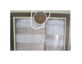 Подарочный набор махровых полотенец Бежевые с рисунком фото