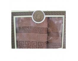 Подарочный набор махровых полотенец Кофейные с рисунком фото