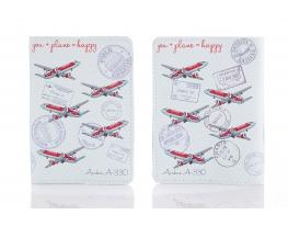 Кожаная обложка на паспорт You + Plane = Happy фото