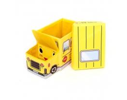 Пуф-ящик для игрушек Автобус желтый фото