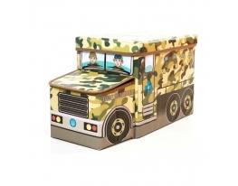 Пуф-ящик для игрушек Военная машина фото