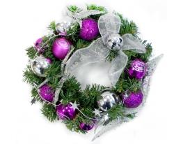 Новогодний венок Фиолетовый 30см фото