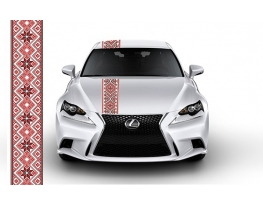 Наклейка Автовышиванка Гуцульская красная фото