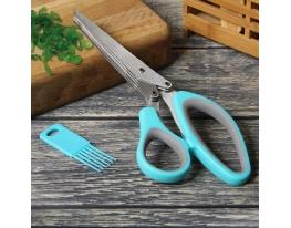 Ножницы для зелени с фигурной ручкой (+щеточка для лезвий) фото