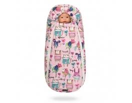 Конверт -кокон меховой Baby XS Рисунки на розовом фоне фото