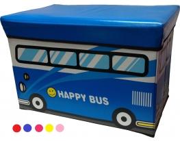 Большой ящик - пуфик для игрушек Веселый автобус фото