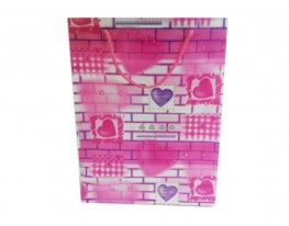 Пакет подарочный розовый Сердечки 34х26х9 фото