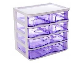 Мини - комод пластиковый прозрачный на 4 секции фото