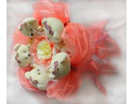 Букет из мишек Персиковый Рай фото