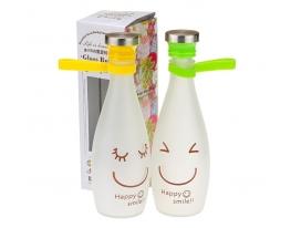 Стеклянная бутылка для воды Happy smile фото