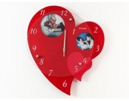 Часы Сердце с двумя фоторамками красные фото